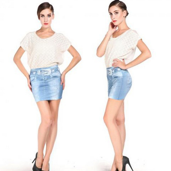 Elastic Imitation Denim Bag Hip Short Mini Skirt