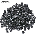 LASPERAL 500PCs Mixed Black Alphabet Beads Letter Cube Acrylic Beads For Jewelry Making DIY Scrapbooking Craft 6x6mm 3.5mm Hole