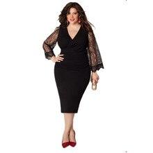 Kurze Schwarze Große Größe Cocktailkleid Mit Spitze Mit Langen Ärmeln V-ausschnitt Engen Plus Größe Semi Formal Frauen Kleid