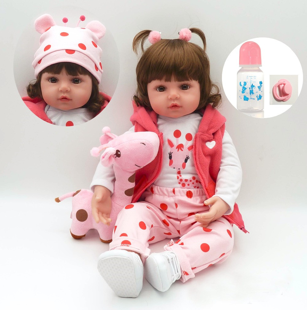 N02 Realistic Bebe Reborn Baby Doll 58/48cm Soft Silicone Lifelike Curved Hair Baby Doll Toy Ethnic Doll For Kids Birthday Gifts