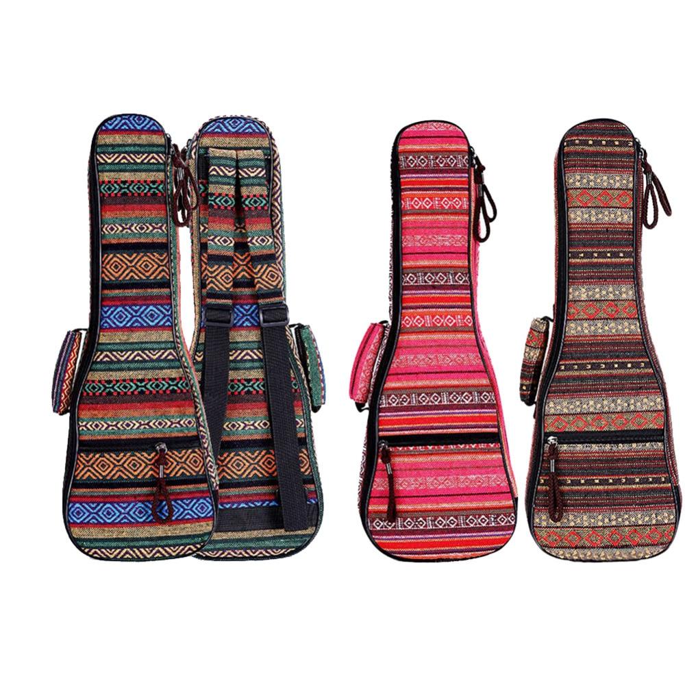 цена на Ukulele Backpack 21 / 23 / 26 Inch Ethnic Style Ukulele Case Musical Instruments Bag Portable Backpack With A Front Pocket