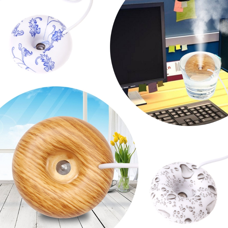 цена на Mini USB Donut Humidifier Air Purifier Aroma Diffuser Home Office Car Portable