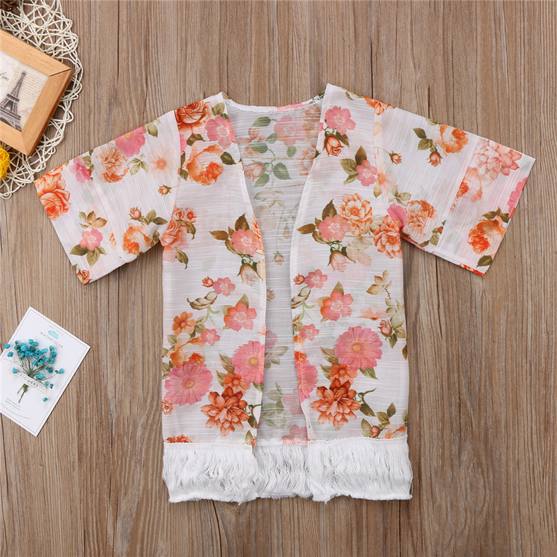 2018 Girls Beach Cover Up Baby Kid Girl New Floral Printed Summer Spring Thin Beach Wear Outdoor Clothes Coat Tassels Outfits