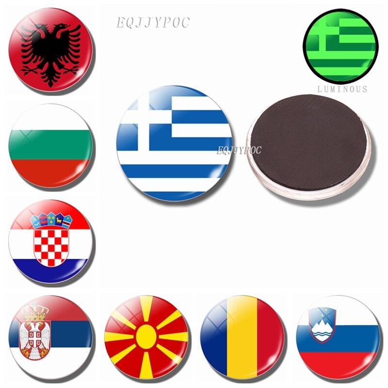 Luminous Fridge Magnets Flag 30MM Glass Refrigerator Magnet Southern Europe Romania, Bulgaria, Serbia, Macedonia, Albania