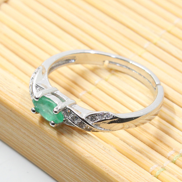 New fashion natural emerald ring 3 mm * 6 mm genuine emerald silver ring sterling silver emerald engagement ring for woman