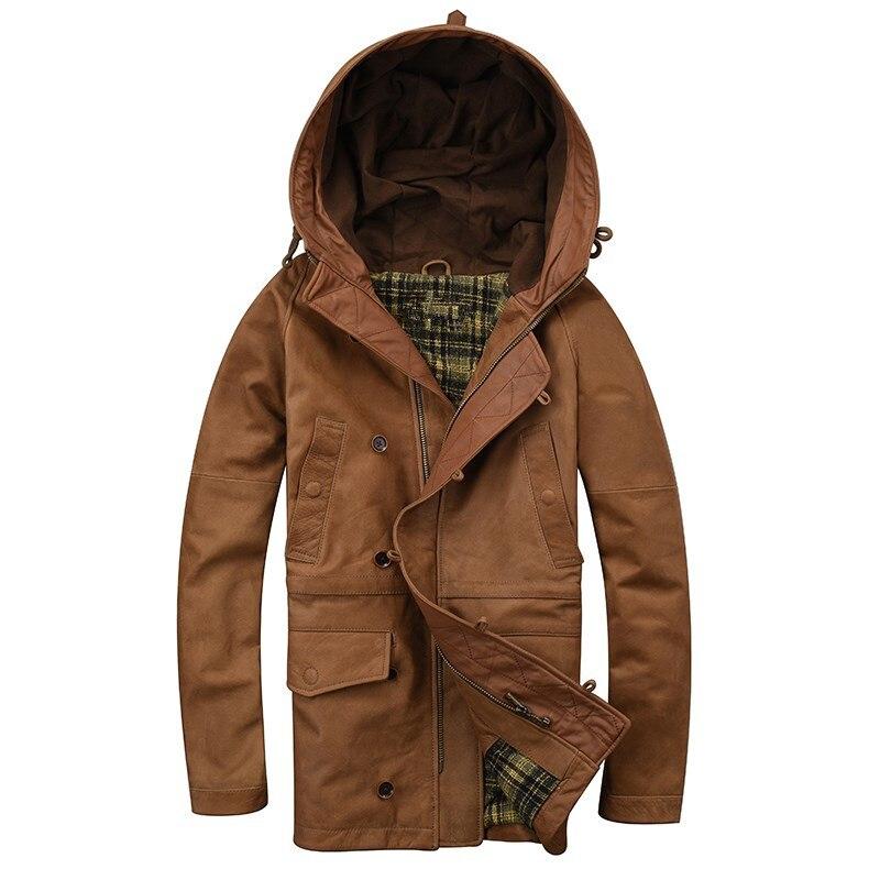 2018 marrón larga con capucha chaqueta de cuero hombres solo ...