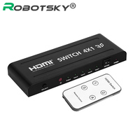 HD 3D 1080P V1.4 4x1 HDMI Switch Splitter 4 In 1 out HDMI Selector Converter & Remote Control for XBOX360 DVD PS3 Projector