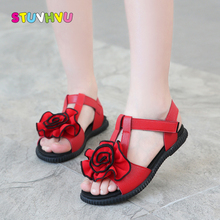 Fashion Flowers Girls Sandals for Children Leather Shoes 2019 New Summer Non-slip Flats Students Sandalias 26-37