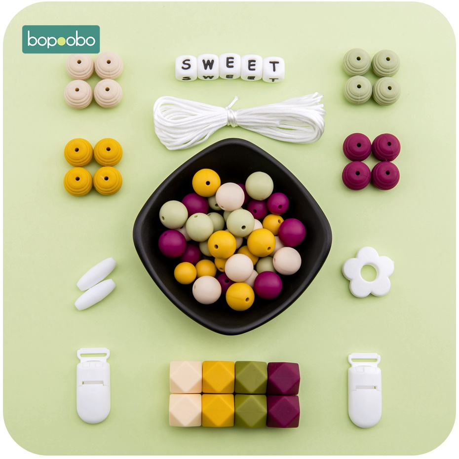 Bopoobo Silicone Teether BPA Free Silicone Beads  Baby Teething DIY Set For Pacifier Clip Nursing Teething Necklace Accessories