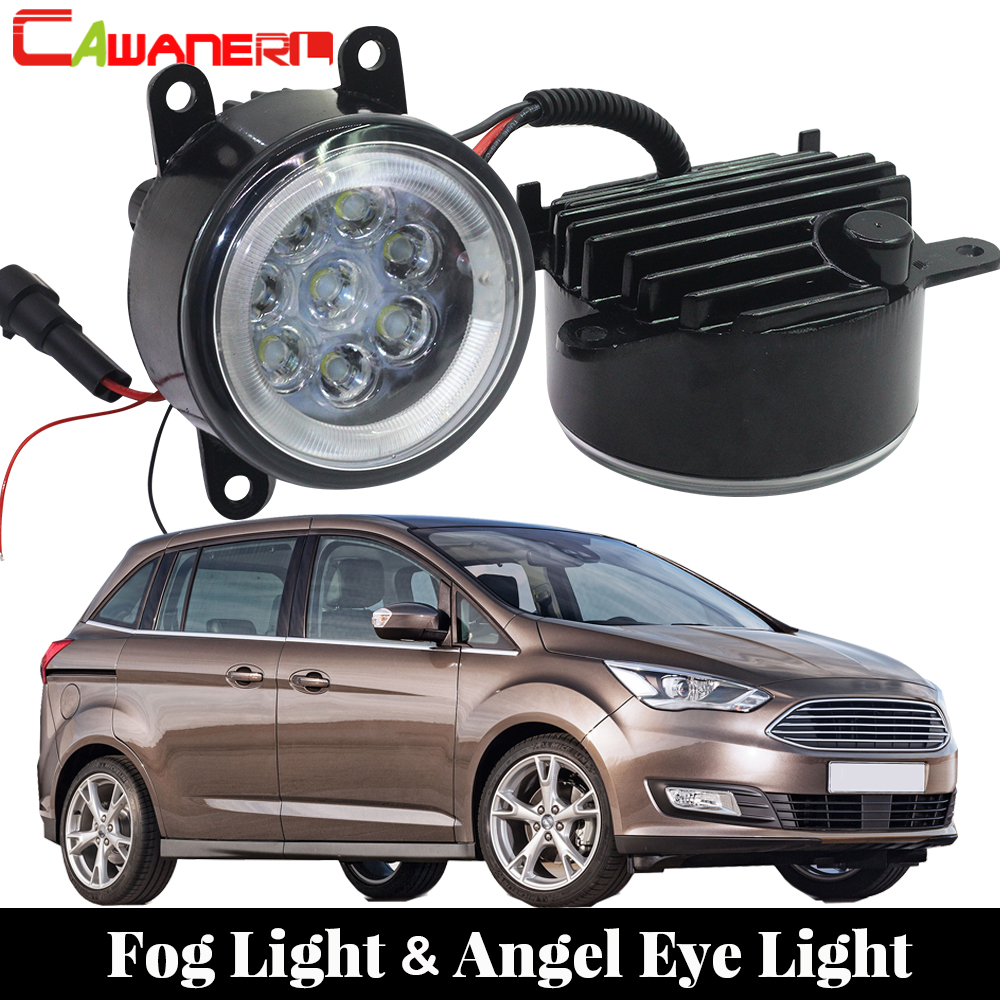 Cawanerl 2 X Car LED Fog Light Angel Eye Daytime Running Light DRL 12V For Ford Grand C-Max MPV 2010 2011 2012 2013 2014 2015
