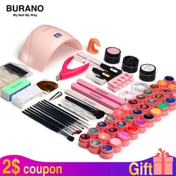 Nail kit & <font><b>lamp</b></font> dryer for nail set BURANO manicure set 36W LED <font><b>Lamp</b></font> with 36 Color UV Gel Nail polish kit