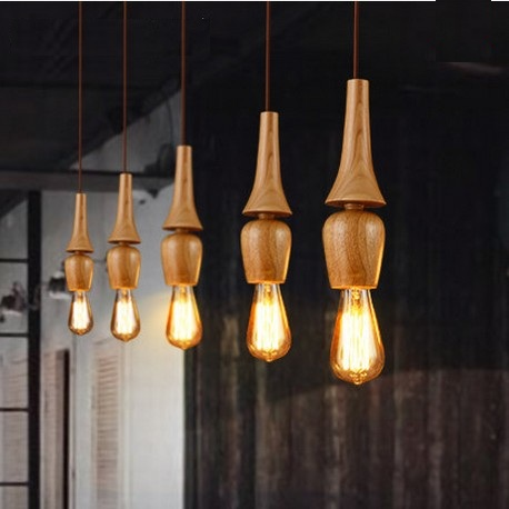 American Village Wooden Droplight Edison Bulb Modern Pendant Light Fixtures F