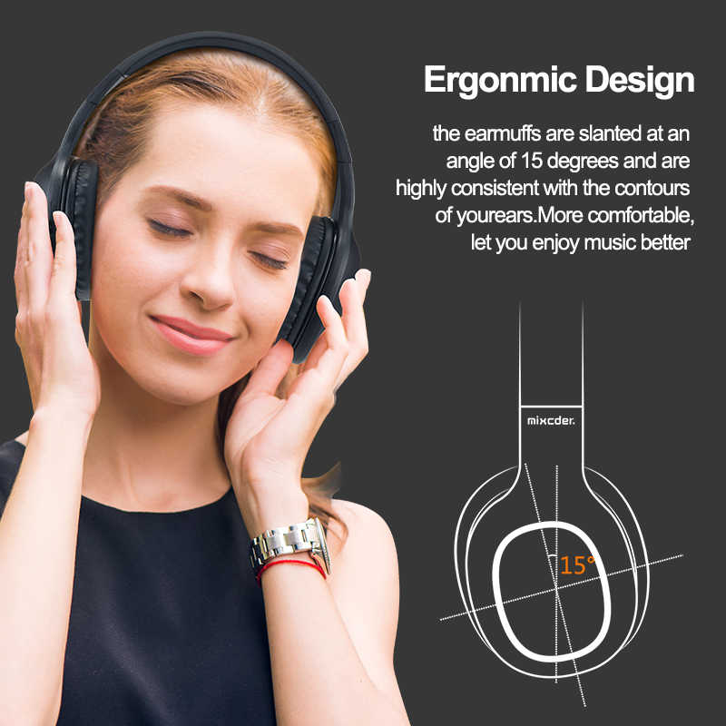 Mixcder HD901 zestaw słuchawkowy Bluetooth słuchawki bezprzewodowe słuchawki douszne z mikrofonem TF karty do telefonu muzyka składany regulowane słuchawki