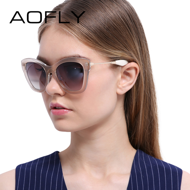 AOFLY New Fashion Cat Eye Sunglasses Women Oval Sunglasses Brand Designer Gradient Glasses Eyewear Vintage Oculos Gafas De Sol