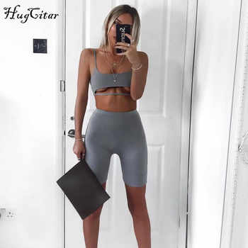 Hugcitar spaghetti straps split hollow out camis knee length pants 2 pieces sets 2018 women summer casual sportswear sexy sets - DISCOUNT ITEM  40% OFF All Category