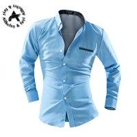 2016 Men Dress Shirt Elegant Comfort Long Sleeve Men Shirt Cotton Solid Slim Fit Business Casual