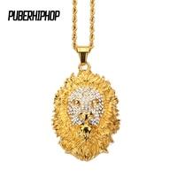 JFY Gouden Kleur Leeuwenkop Crown King Hangers Kettingen Mannen Hiphop Charme Franco Ketting Iced Out bling Rvs sieraden