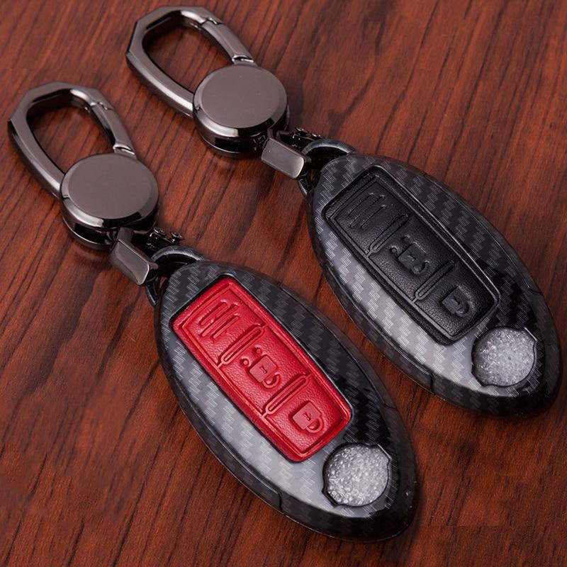 Carbon Fiber Car Remote Key Case Cover For Nissan Qashqai J11 X-Trail t31 t32 Rogue Kicks Tiida Murano Note Juke Teana 2017 2018 car styling luminous temporary parking card phone number plate sucker car sticker for nissan qashqai x trail tiida juke note