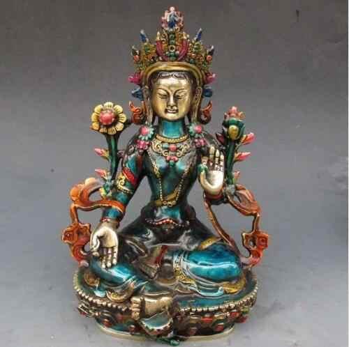 SUIRONG---1025 + + + бронзовый завод Чистая латунь античная 8,66 дюймов изысканная ручная резная перегородка буддийский Будда зеленая Статуэтка тары
