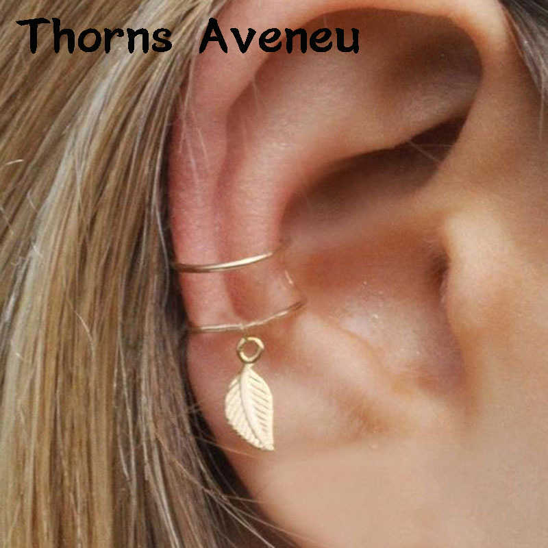 New Fashion 1PC Sliver Gold Black Color Leaf Clip On Hoop Earrings Earcuffs Stainless Steel Ear Cuff For Women Men Jewelry