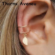 New Fashion 1PC Sliver Gold Black Color Leaf Clip On Hoop Earrings Earcuffs Stainless Steel Ear Cuff For Women Men Jewelry(China)