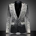 Figurinos Para Os Cantores de Moda Mens Blazer Floral Outwear Costurado Blazer Ocasional Plus Size 6XL Slim Fit Roupas de Alta Qualidade