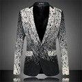 Mens Fashion Floral Blazer Trajes de la Etapa Para Cantantes Cosido Outwear Chaqueta Ocasional Más Tamaño 6XL Ropa Slim Fit Alta Calidad