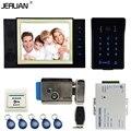 JERUAN 8 inch TFT video door phone Record intercom system New RFID waterproof Touch Key password keypad Camera 8G SD Card E-lock