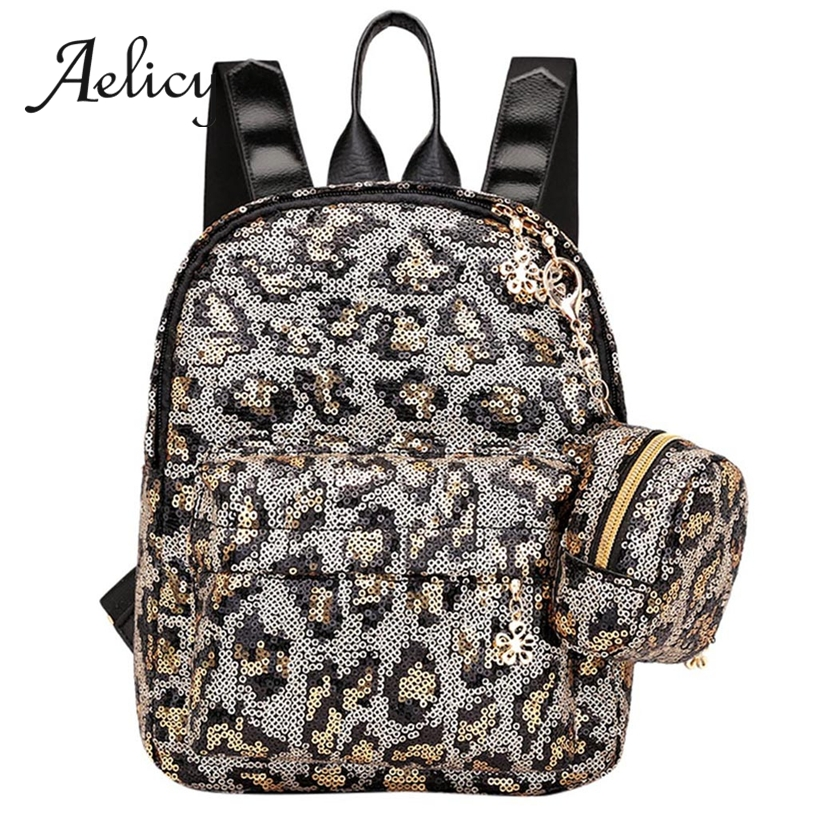 Aelicy Satchel Women Leopard Print Sequin Fashion Small Backpacks Lady Travel Zipper Shoulder Backpack + Clutch Bag 2pcsAelicy Satchel Women Leopard Print Sequin Fashion Small Backpacks Lady Travel Zipper Shoulder Backpack + Clutch Bag 2pcs