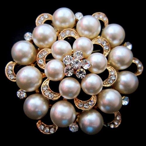 Серебряный тон искусственный жемчуг и горный хрусталь с бриллиантами, кристалами для свадьбы брошь с букетом - Окраска металла: Gold Cream