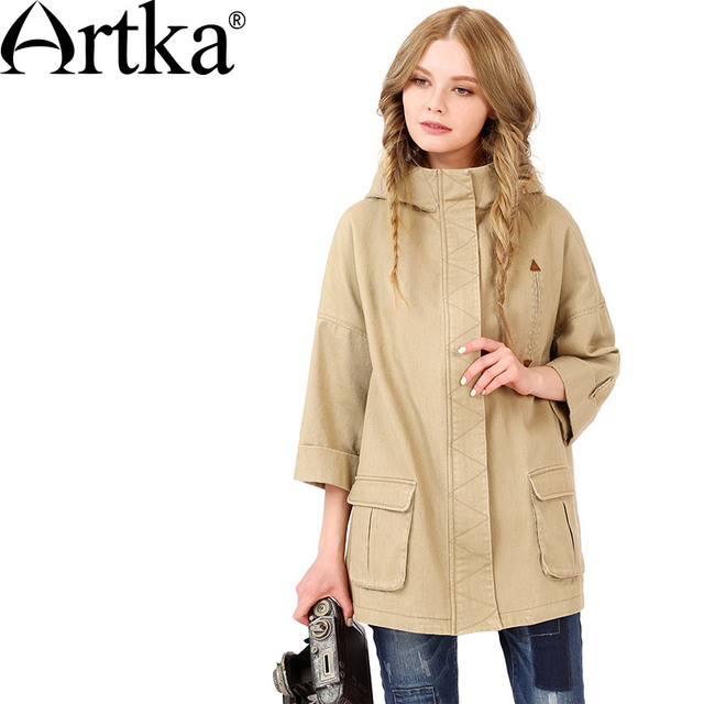 Artka Women's 2017 Spring 2 Colors All-match Trench Casual Hooded Three Quarter Sleeve Big Pockets Comfy Coat FX10660Q