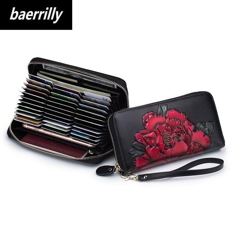 Women Passport Pocket Card Wallets Long Genuine Leather Wallet Female Zipper Clutch Coin Purse Ladies Wristlet 36 Card Holder