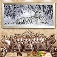 5D DIY Diamond Embroidered Animal White Tiger Cross Stitch Full Round Painting Rhinestone Decoration 90x45cm