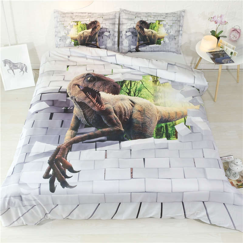 dinosaur bedding set twin size kids duvet cover 3D white bed linens teenage bed linens mens bedspread home textile 3pcs