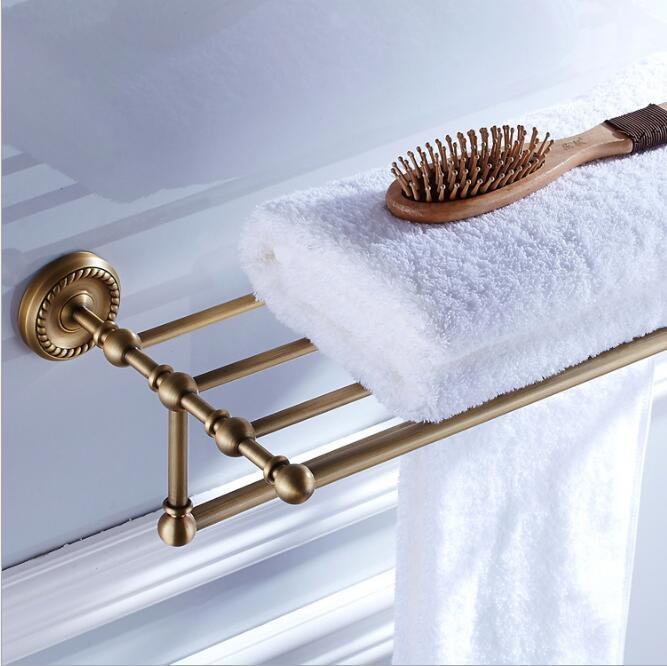 Antique Fixed Bath Towel Holder Wall Mounted Towel Rack 60 cm Towel Shelf Bathroom Accessories Luxury Brass Towel Rail bathroom thickened antique bath towel frame wall hanging rack full copper bathroom accessories set fixed towel rack