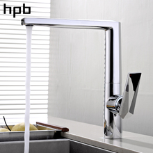 HPB Brass Chrome Sink Faucet for Kitchen Mixer Tap Single Handle 360 Degree Rotation Hot And Cold Water Contemporary  HP4022 стоимость