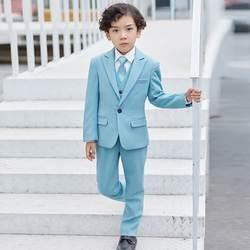 Новый Голубой Свадьба мальчик сидит комплект из 3 предметов (куртка + брюки + жилет + галстук-бабочка) серые костюмы для детей таможенные Homme