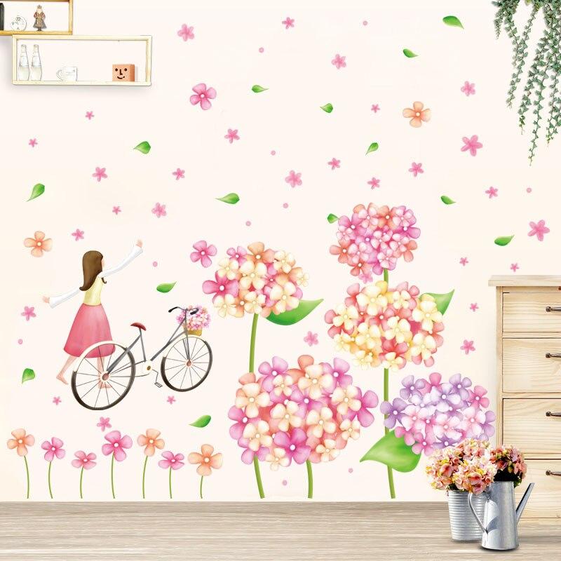 Fundecor] carino fiori della ragazza in bicicletta adesivi murali ...