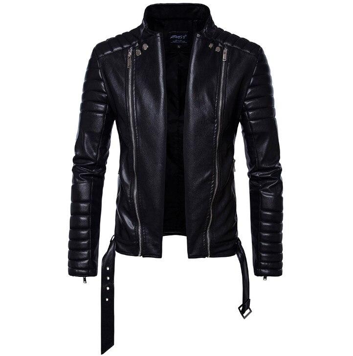 Soupe Dream classique moto veste en cuir hommes nouveau Style britannique multi-zipper veste décontracté cuir casual Biker veste mâle manteau. - 3