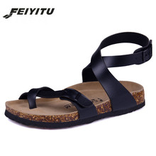 Male Fashion Cork Sandals 2017 New Men Casual Summer Beach Gladiator Buckle Strap Sandals Shoe Flats white black brown red mens summer gladiator sandals 2018 rivets cutout flats sandals booties black retro criss cross straps male runway sandals