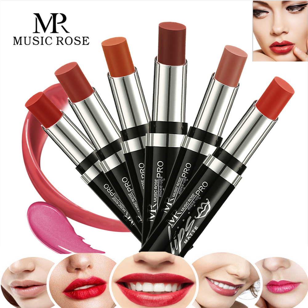 MUSIC ROSE Brand 24 Colors Red Lipstick Korean Makeup Matte Waterproof for Women Nude Long Lasting Gifts