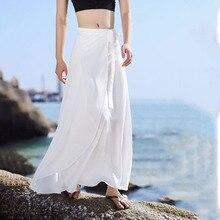 1pcs Hight waist skirts Womens Sandy beach 2019 Autumn Fashion Chiffon Splicing Long skirt Ladies Skinny