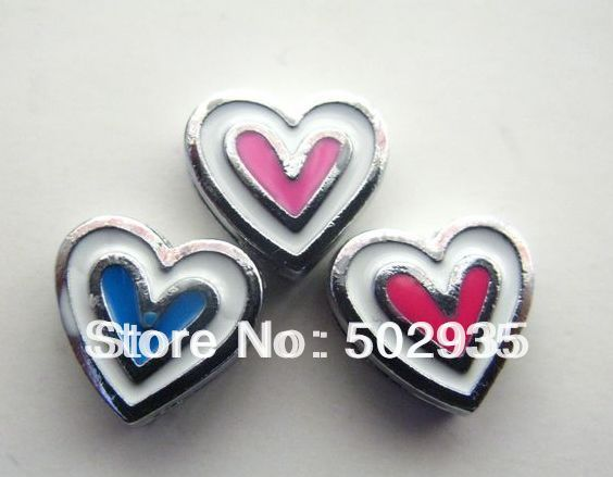 50pcs 8mm #1 Heart Slide Charms Fit Pet Dog Cat Tag Collar Wristband