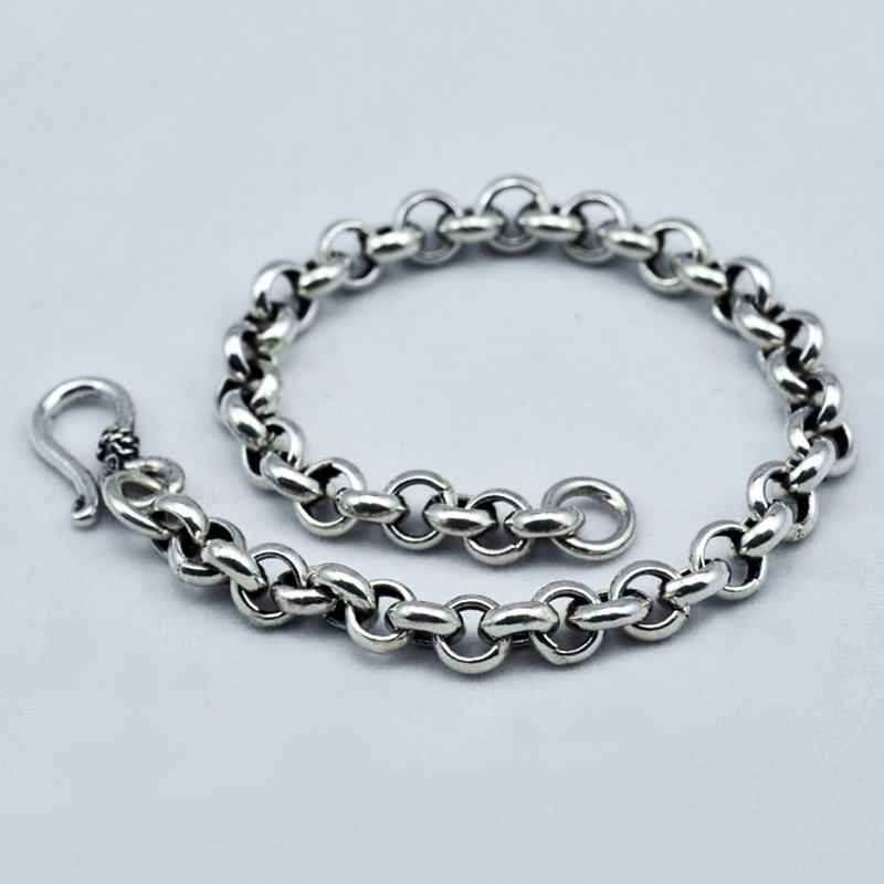 Genuine 925 Sterling Silver Bracelet For Men And Women O Type Chain Vintage Handmade Mens Bracelets Armbanden Voor Vrouwen bracelets for men bracelet personnalisable mens braclets silver 925 5mm
