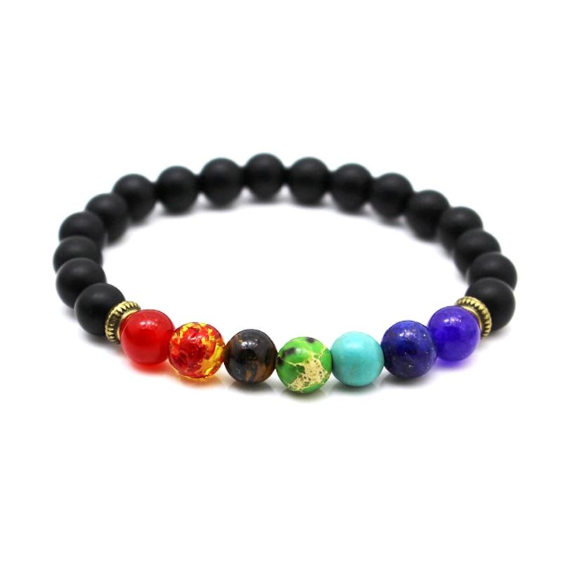 2017 Newst 7 Chakra Bracelet Men Black Lava Healing Balance Beads Reiki Buddha Prayer Natural Stone Yoga Bracelet For Women 2