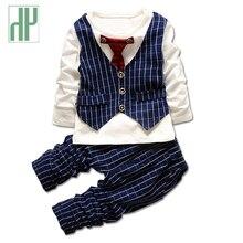 HH 1-3ans Garçons vêtements de mode bébé fille vêtements set gentleman costumes Cravate à rayures chemise + pantalon formelle enfants vêtements garçons