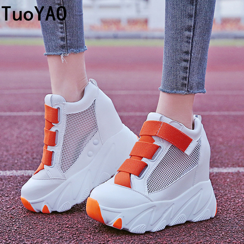 Women Platform Sneakers 2019 Summer Breathable Mesh Shoes Women Wedges Heels Casual Shoes 11 CM Thick Sole Trainers White Shoes|Women's Vulcanize Shoes| |  - title=