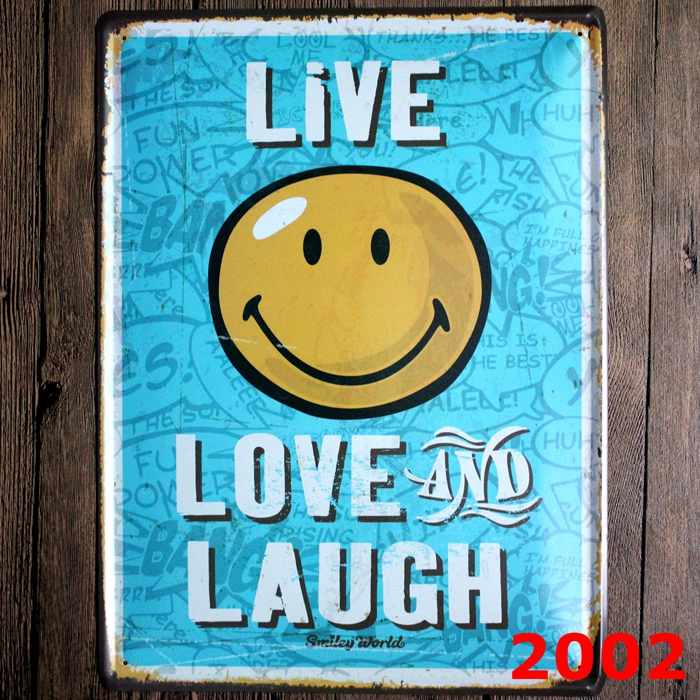 Live LOVE LAUGH Direct selling large Vintage license plate Wall art craft metal painting vintage Iron for bar home decor 30x40cm