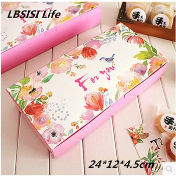 50pcs High Quality Pink Bird Spring Flower Cheese Cake Paper Box Cookie Container Gift Packaging Wedding Christmas 24*12*4.5cm