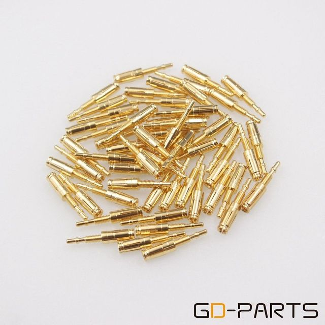 GD PARTS 10PCS Gold Plated Brass Pins Tube Socket Pins Feet For KT88 EL34 6550 GZ34 274B Nixie VFD Vintage Hifi Audio DIY